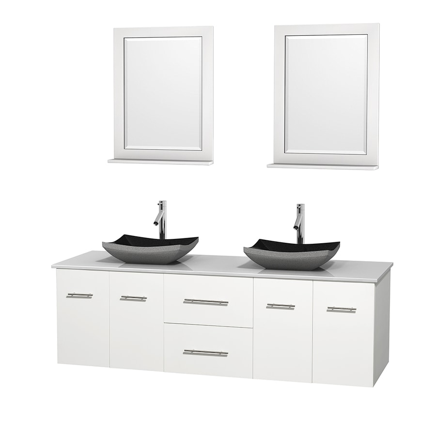 Wyndham Collection Centra White 72-in Vessel Double Sink Oak Bathroom Vanity with Engineered Stone Top (Mirror Included)