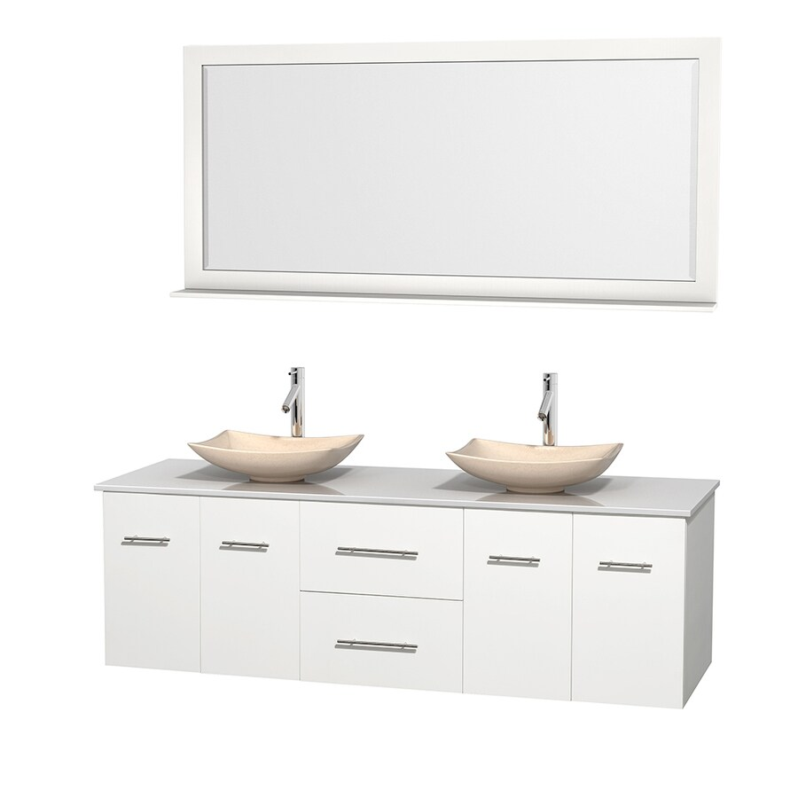 Wyndham Collection Centra White Double Vessel Sink Bathroom Vanity with Engineered Stone Top (Common: 72-in x 22.5-in; Actual: 72-in x 22.25-in)