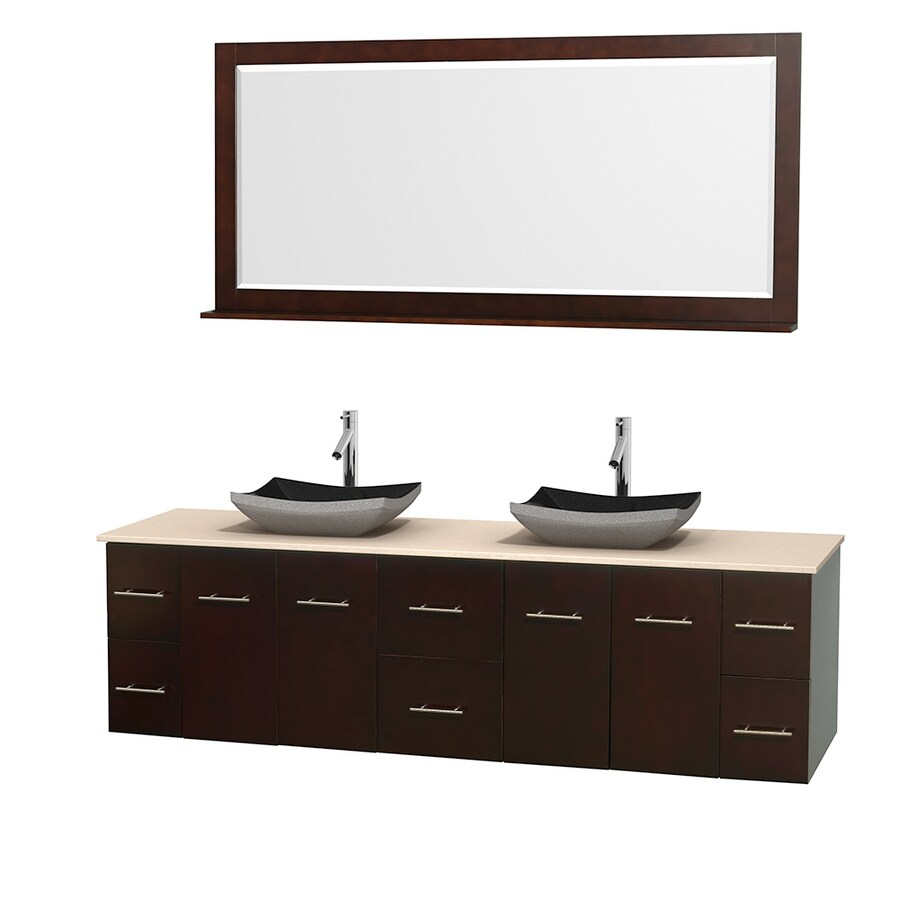 Wyndham Collection Centra Espresso Double Vessel Sink Bathroom Vanity with Natural Marble Top (Common: 80-in x 22.5-in; Actual: 80-in x 22.25-in)