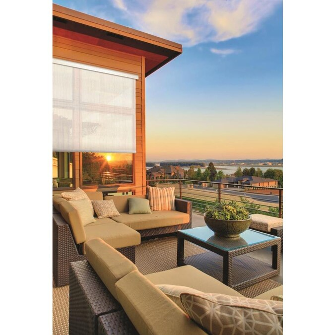 Coolaroo Solar Motorized Exterior Roller Shades Pearl ...