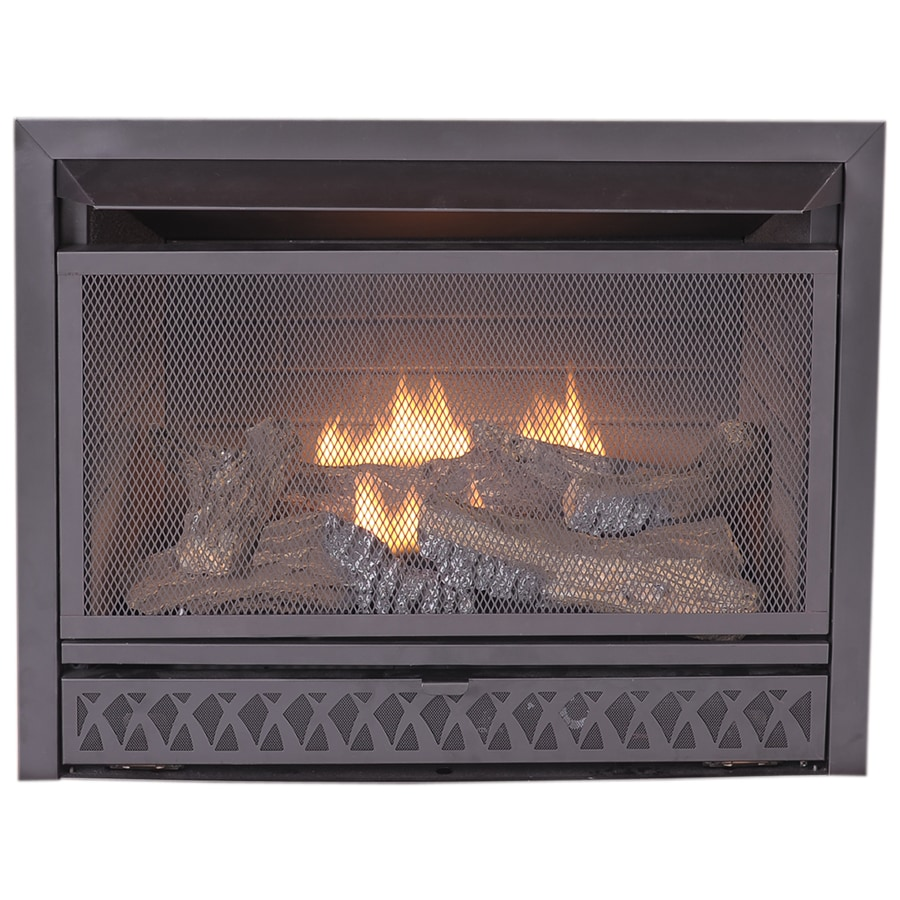 ProCom 28.75-in W 26,000--BTU Black Vent-Free Dual-Burner Gas Fireplace Insert with Thermostat