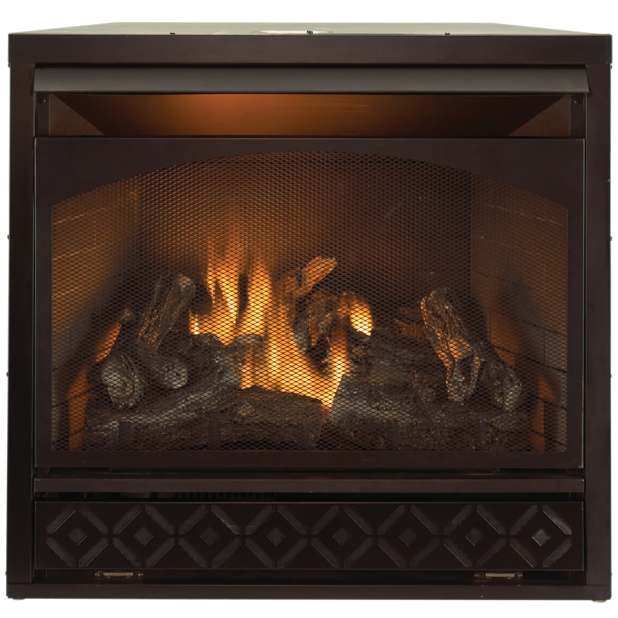 000--BTU Black Vent-Free Dual-Burner Gas Fireplace Insert with Thermostat and Remote Control at Lowes.com