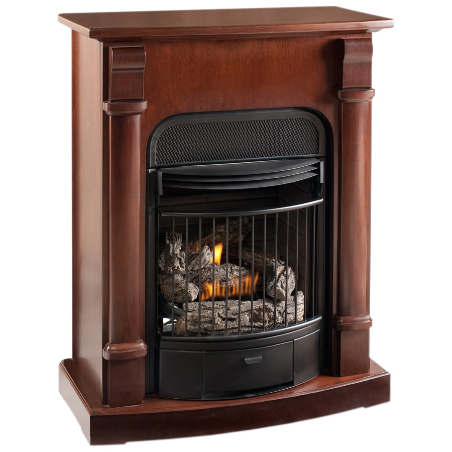 Shop procom 29.13-in dual-burner vent-free heritage cherry corner or wall-mount liquid propane and natural gas fireplace at Lowes.com
