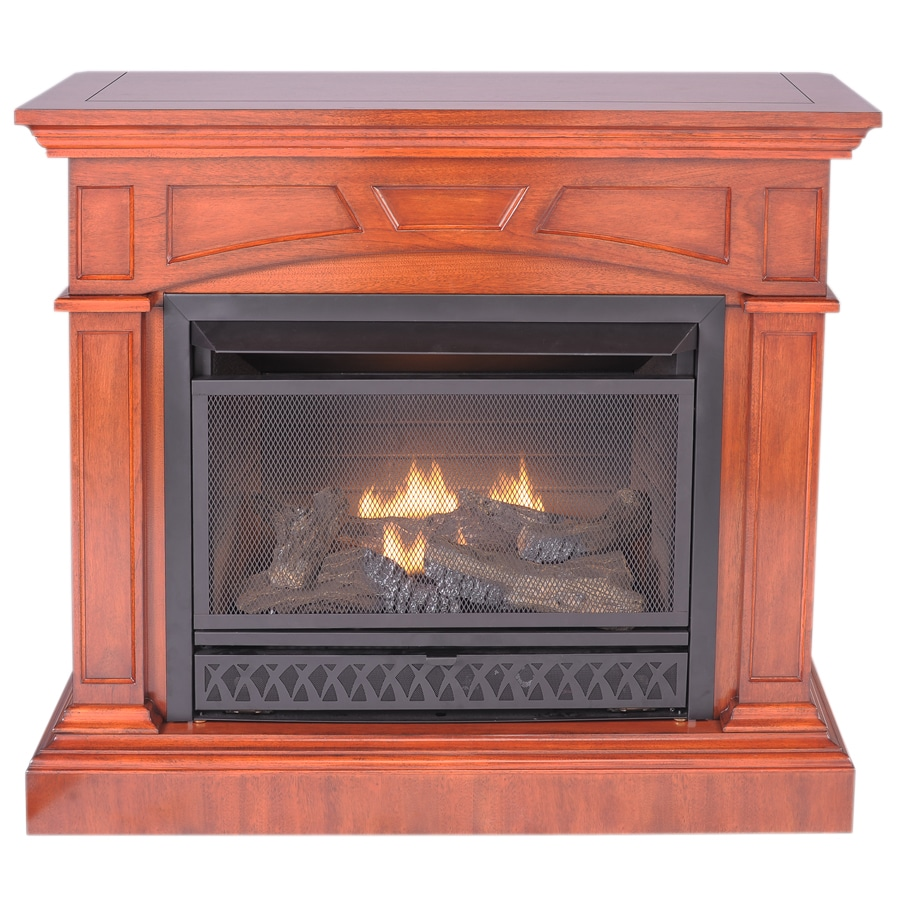 ProCom 43.46-in Heritage Cherry Vent-Free Gas Fireplace