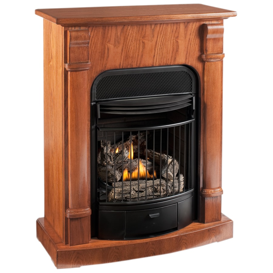 Natural gas wall mount fireplaces - Procom 29 13 In Dual Burner Vent Free Light Oak Corner Or Wall