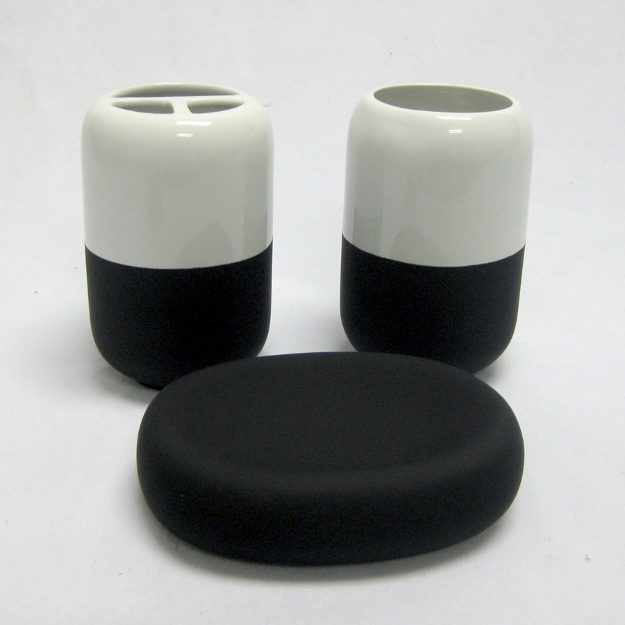 Style Selections Back to Campus White and Black Ceramic Bathroom Coordinate Set