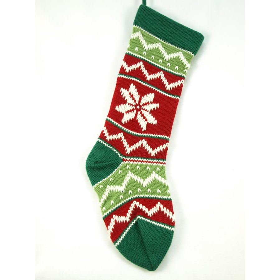 Shop Holiday Living 21-in Green Cotton Knit Christmas Stocking at ...