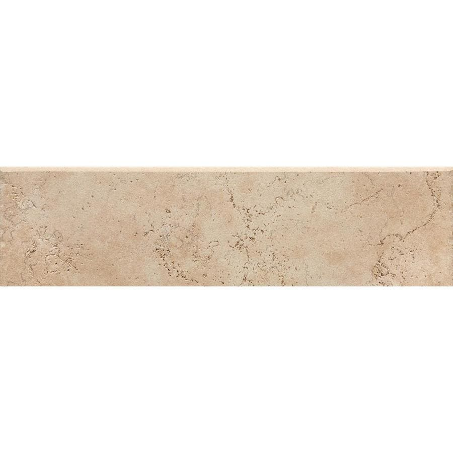 Del Conca Rialto Beige Thru Body Porcelain Bullnose Tile (Common: 3-in x 12-in; Actual: 3.15-in x 11.81-in)