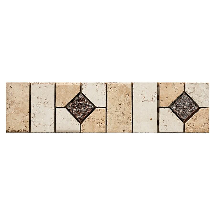Del Conca Rialto Beige/White Thru Body Porcelain Mosaic Random Listello Tile (Common: 3-in x 12-in; Actual: 3.15-in x 11.81-in)