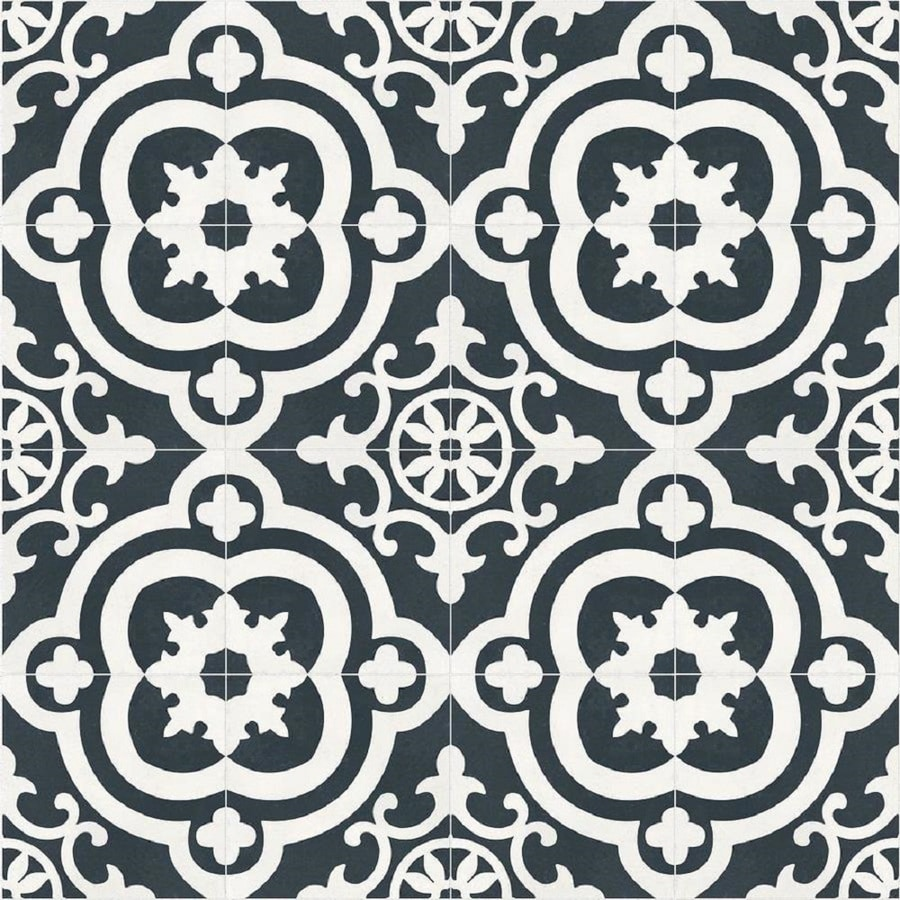 black and white floor tile. DELLA TORRE Cementina Black And White Ceramic Floor Wall Tile  Common 8 Shop At Lowes Com