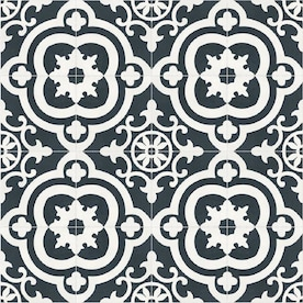 DELLA TORRE Cementina Black And White 8-in x 8-in Ceramic Encaustic Floor and Wall Tile (Common: 8-in x 8-in; Actual: 7.87-in x 7.87-in)