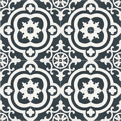 Cementina Black And White 8 In X Ceramic Encaustic Floor Wall Tile Common Actual 7 87