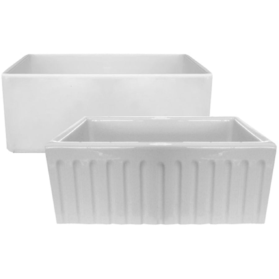 LaToscana Farmhouse 24-in x 18-in White Single-Basin Fireclay Drop-in ...