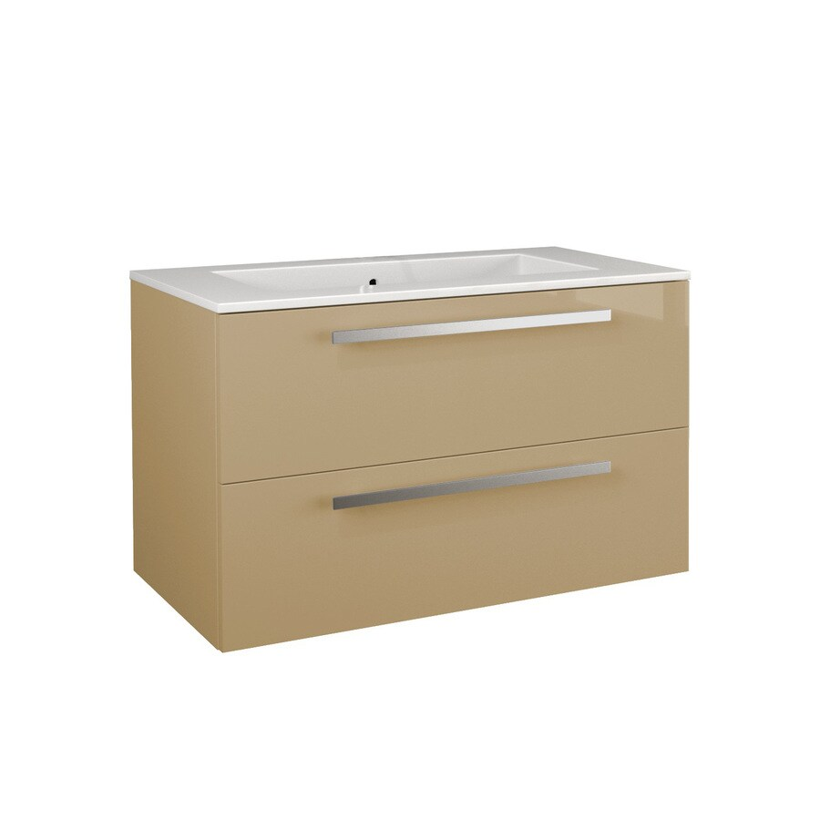 LaToscana Ambra Glossy Sand Integrated Single Sink Bathroom Vanity with Solid Surface Top (Common: 34-in x 20-in; Actual: 33.86-in x 20.08-in)