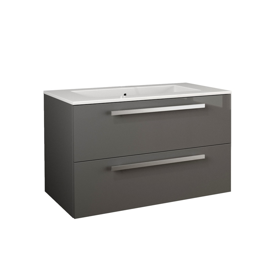 LaToscana Ambra Glossy Slate 33.86-in Integral Single Sink Bathroom Vanity with Solid Surface Top