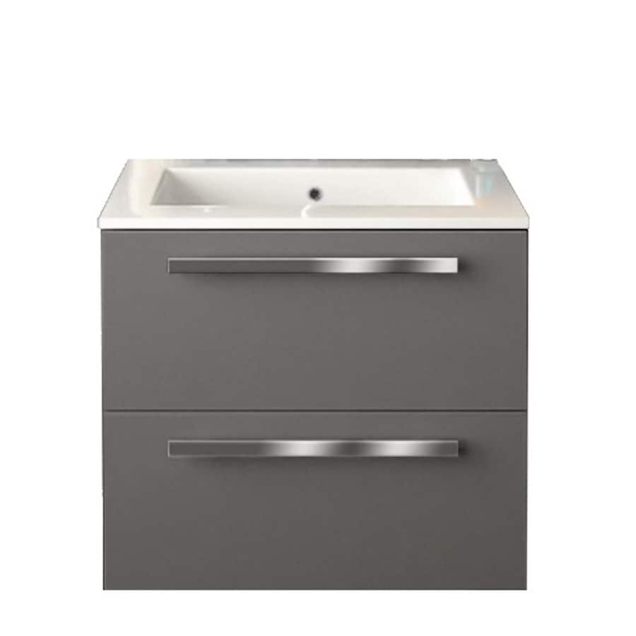 LaToscana Ambra Glossy Slate Integrated Single Sink Bathroom Vanity with Solid Surface Top (Common: 24-in x 18-in; Actual: 23.82-in x 18.1-in)