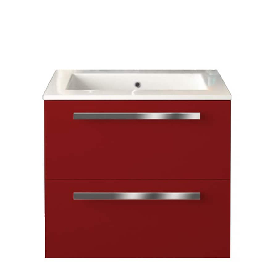 LaToscana Ambra Glossy Red 23.82-in Integral Single Sink Bathroom Vanity with Solid Surface Top