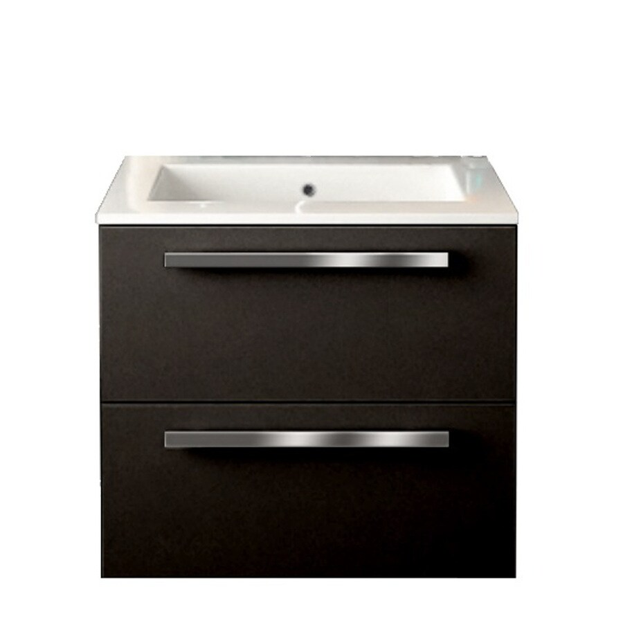 LaToscana Ambra Glossy Black Integrated Single Sink Bathroom Vanity with Solid Surface Top (Common: 24-in x 18-in; Actual: 23.82-in x 18.1-in)