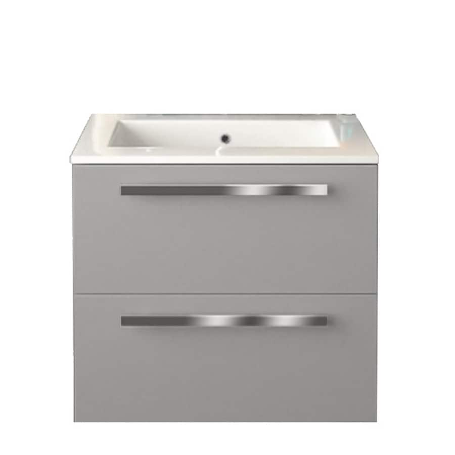 LaToscana Ambra Glossy Grey (Common: 24-in x 18-in) Integral Single Sink Bathroom Vanity with Solid Surface Top (Actual: 23.82-in x 18.1-in)