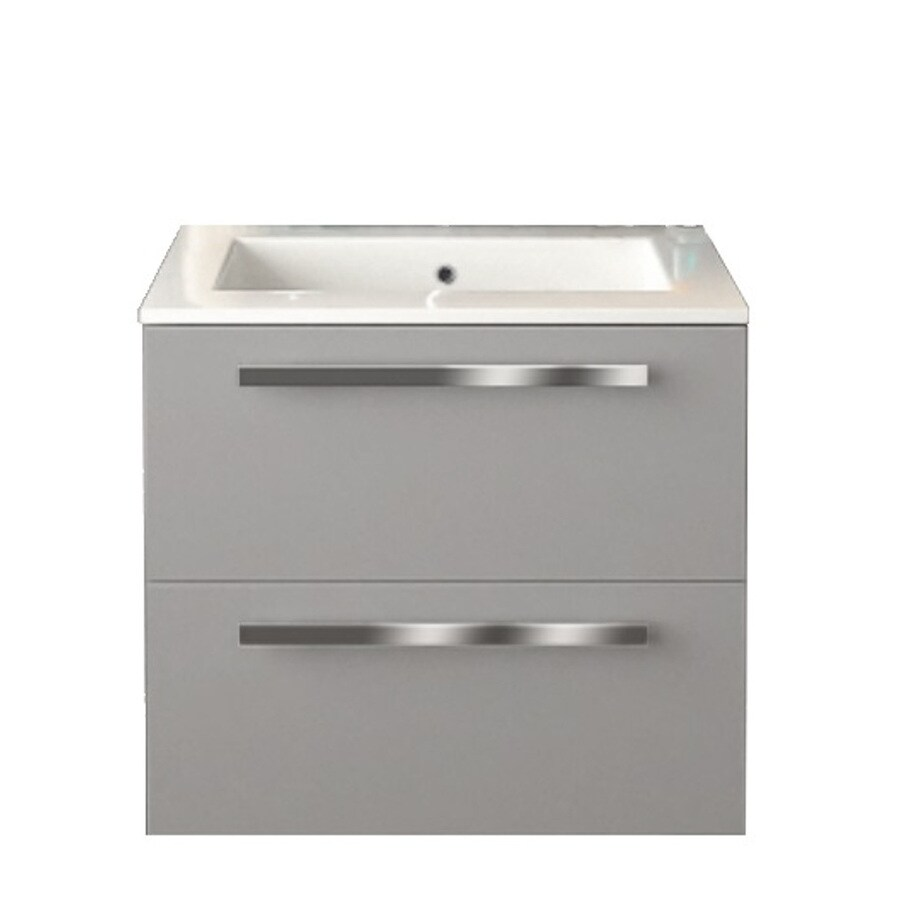 LaToscana Ambra Glossy Grey Integrated Single Sink Bathroom Vanity with Solid Surface Top (Common: 24-in x 18-in; Actual: 23.82-in x 18.1-in)