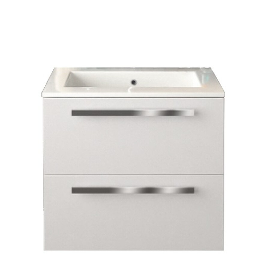LaToscana Ambra Glossy White Integrated Single Sink Bathroom Vanity with Solid Surface Top (Common: 24-in x 18-in; Actual: 23.82-in x 18.1-in)