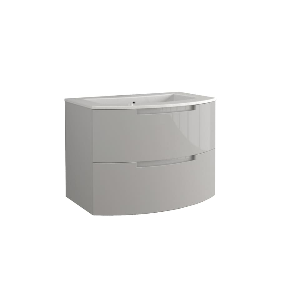 LaToscana Oasi Glossy Grey 28.74-in Integral Single Sink Bathroom Vanity with Solid Surface Top