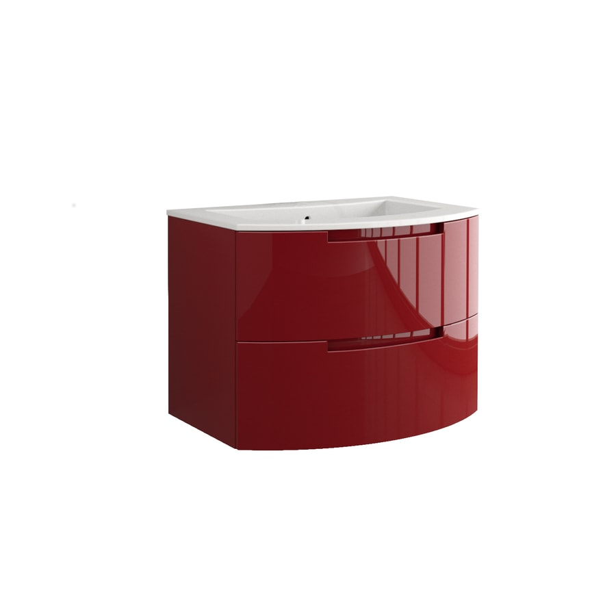 LaToscana Oasi Glossy Red 28.74-in Integral Single Sink Bathroom Vanity with Solid Surface Top