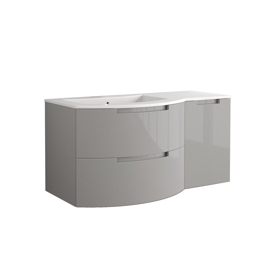 LaToscana Oasi Glossy Grey Integrated Single Sink Bathroom Vanity with Solid Surface Top (Common: 43-in x 20-in; Actual: 42.92-in x 20.08-in)
