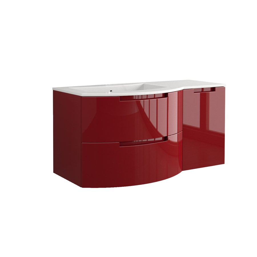 LaToscana Oasi Glossy Red 42.92-in Integral Single Sink Bathroom Vanity with Solid Surface Top