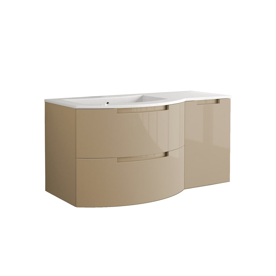 LaToscana Oasi Glossy Sand 42.92-in Integral Single Sink Bathroom Vanity with Solid Surface Top