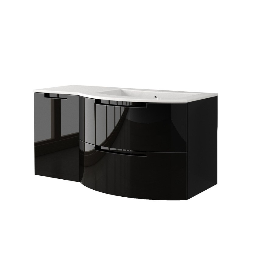 LaToscana Oasi Glossy Black Integrated Single Sink Bathroom Vanity with Solid Surface Top (Common: 43-in x 20-in; Actual: 42.92-in x 20.08-in)
