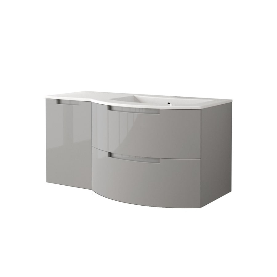 LaToscana Oasi Glossy Grey 42.92-in Integral Single Sink Bathroom Vanity with Solid Surface Top