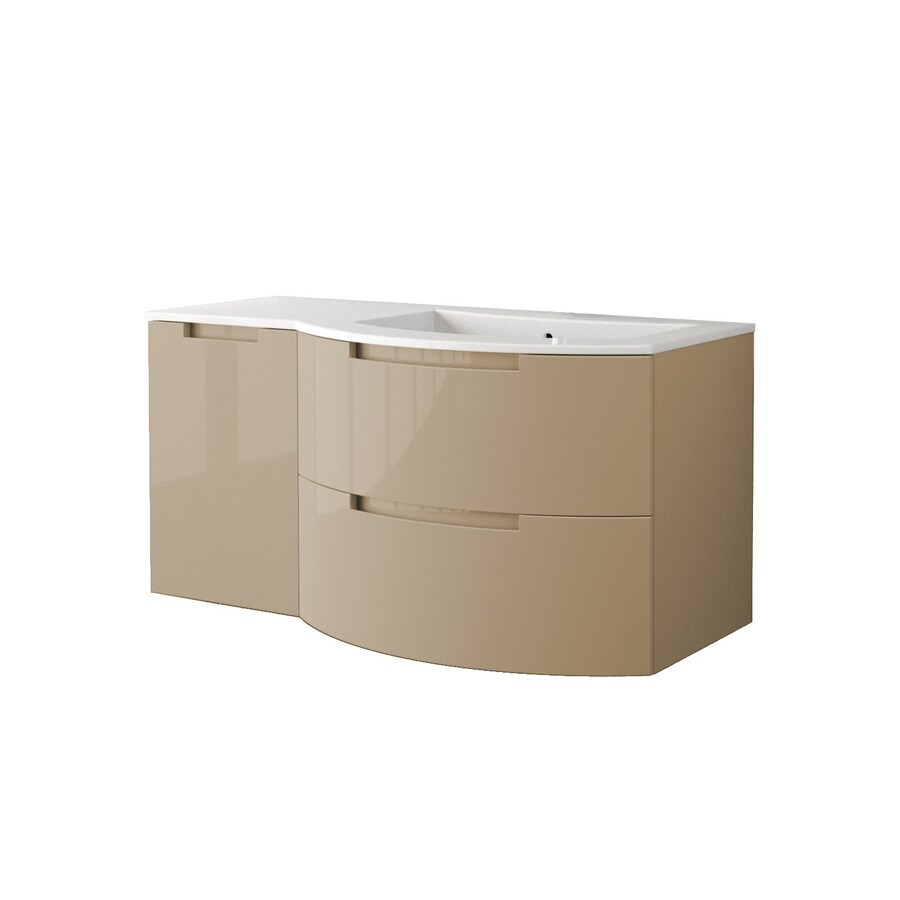 LaToscana Oasi Glossy Sand Integrated Single Sink Bathroom Vanity with Solid Surface Top (Common: 43-in x 20-in; Actual: 42.92-in x 20.08-in)