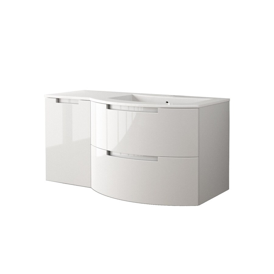 LaToscana Oasi Glossy White 42.92-in Integral Single Sink Bathroom Vanity with Solid Surface Top