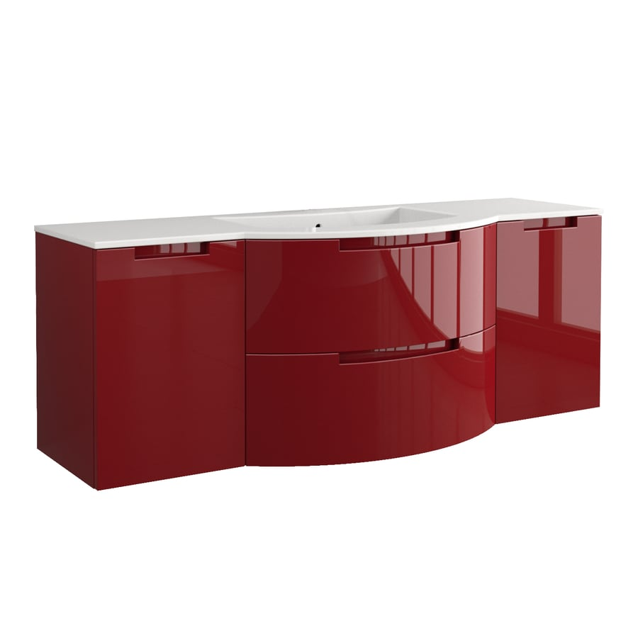 LaToscana Oasi Glossy Red 57.09-in Integral Single Sink Bathroom Vanity with Solid Surface Top