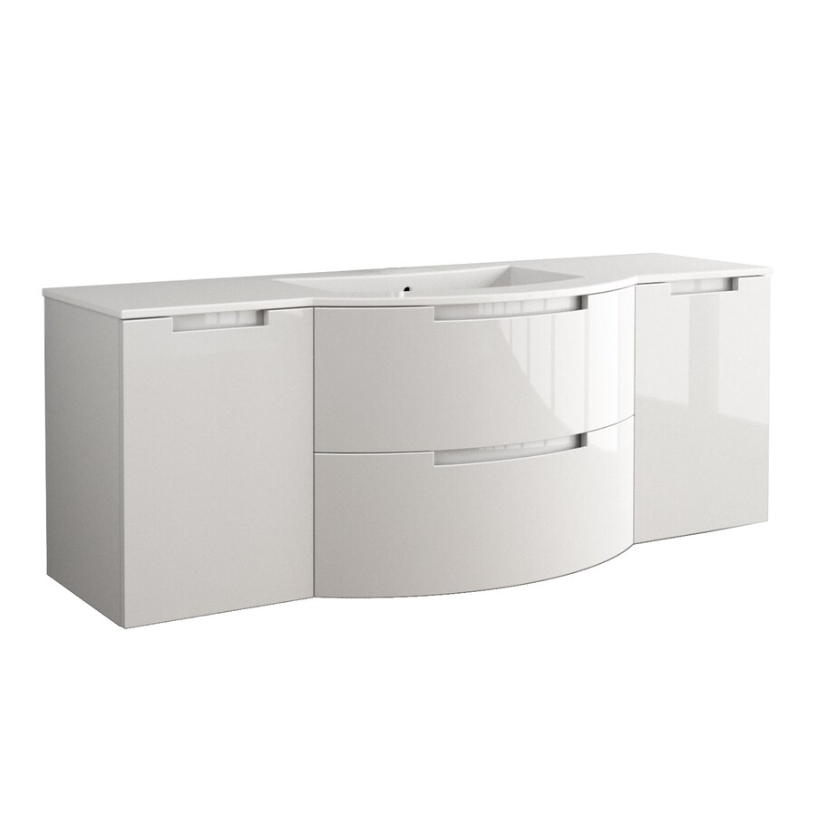 LaToscana Oasi Glossy White 57.09-in Integral Single Sink Bathroom Vanity with Solid Surface Top