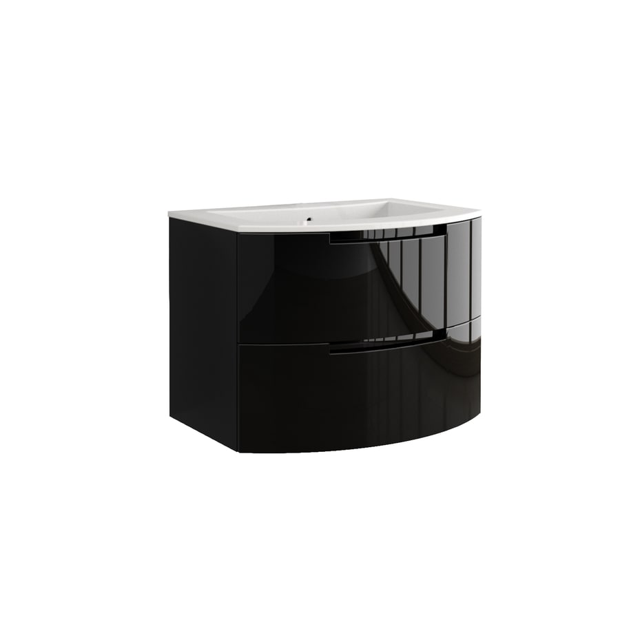 LaToscana Oasi Glossy Black Integrated Single Sink Bathroom Vanity with Solid Surface Top (Common: 38-in x 20-in; Actual: 38.19-in x 20.08-in)