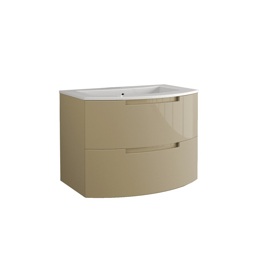 LaToscana Oasi Glossy Sand 38.19-in Integral Single Sink Bathroom Vanity with Solid Surface Top