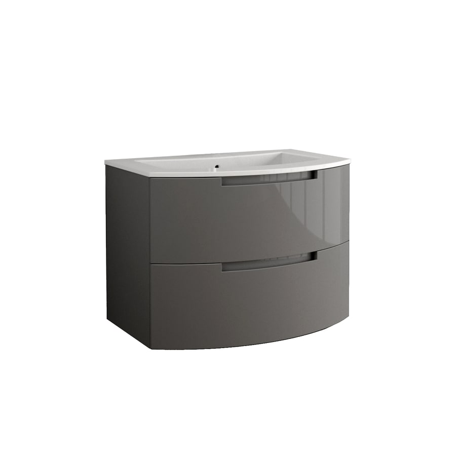 LaToscana Oasi Glossy Slate 38.19-in Integral Single Sink Bathroom Vanity with Solid Surface Top