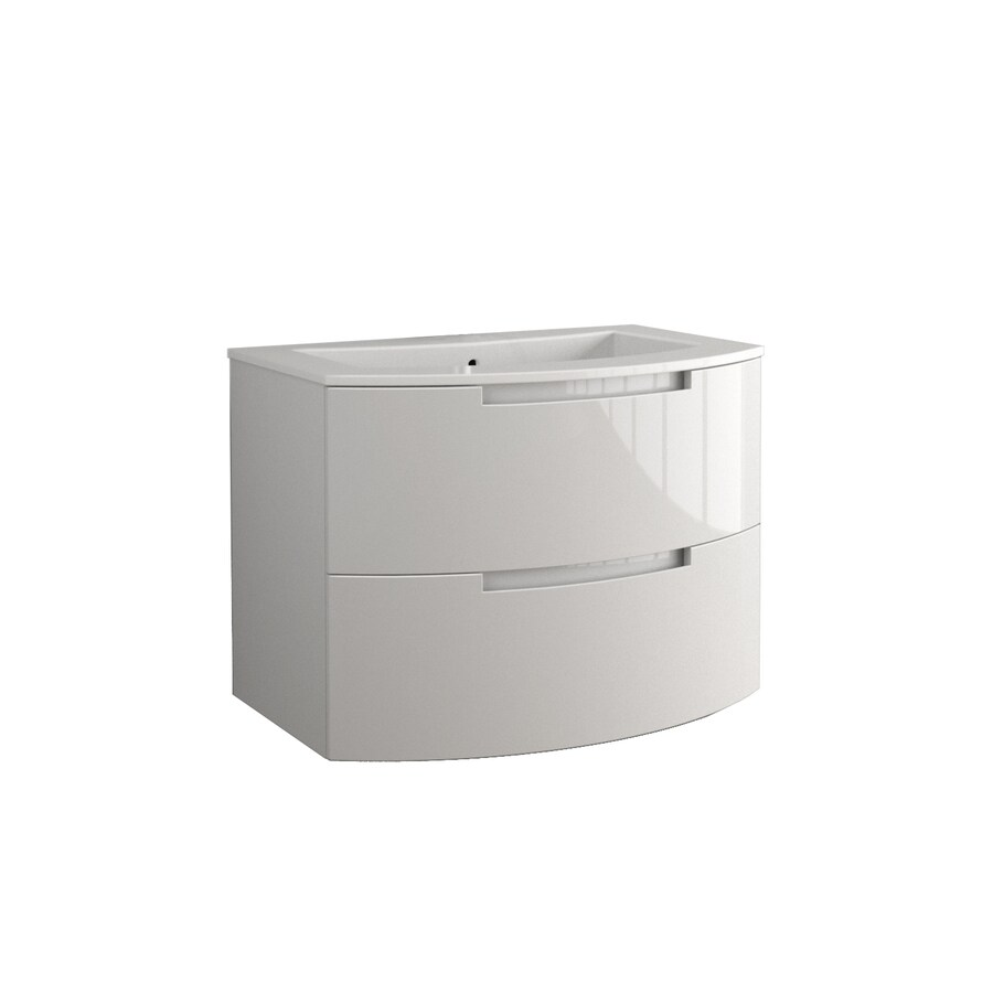 LaToscana Oasi Glossy White 38.19-in Integral Single Sink Bathroom Vanity with Solid Surface Top