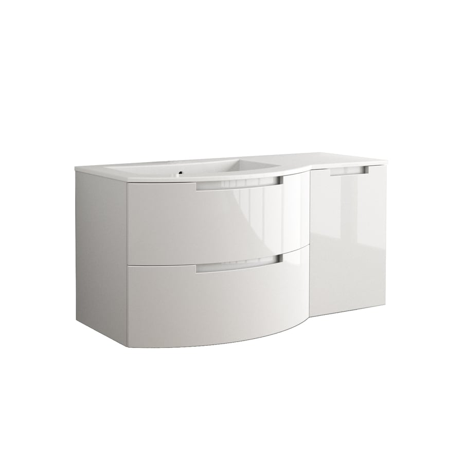 LaToscana Oasi Glossy White Integrated Single Sink Bathroom Vanity with Solid Surface Top (Common: 50-in x 20-in; Actual: 52.37-in x 20.08-in)