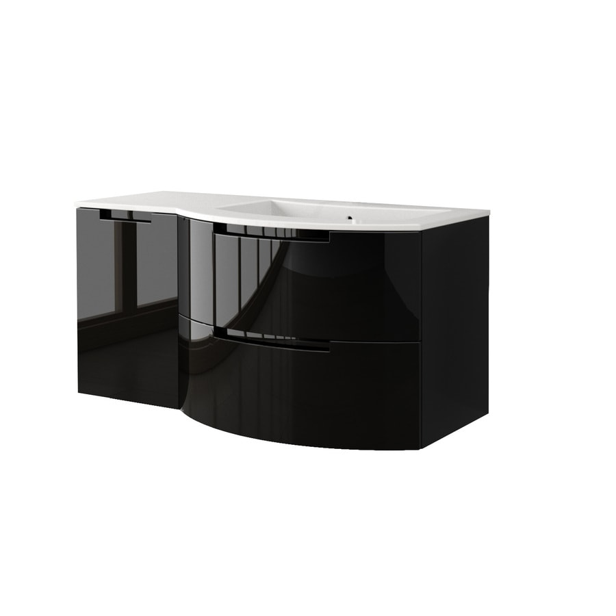 LaToscana Oasi Glossy Black 52.37-in Integral Single Sink Bathroom Vanity with Solid Surface Top