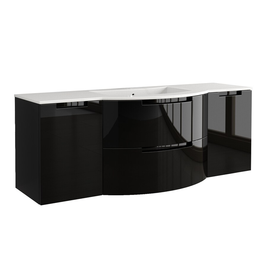 LaToscana Oasi Glossy Black 66.54-in Integral Single Sink Bathroom Vanity with Solid Surface Top