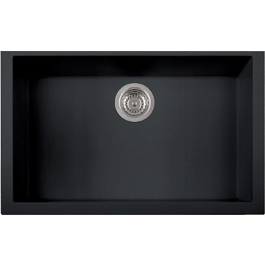 LaToscana One 30.0-in x 18.0-in Black Matt Single-Basin Granite Undermount Residential Kitchen Sink All-In-One Kit