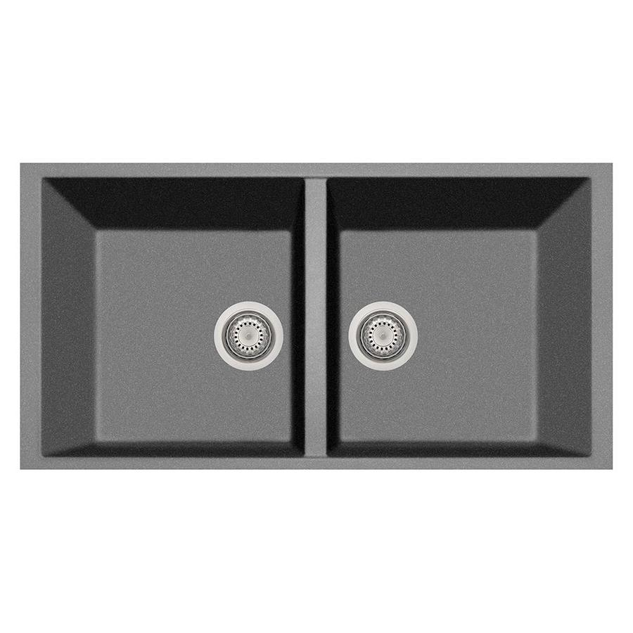 LaToscana Elegance 18-in x 34-in Titanium Double-Basin Composite Undermount Corner Install Commercial/Residential Kitchen Sink All-in-One Kit