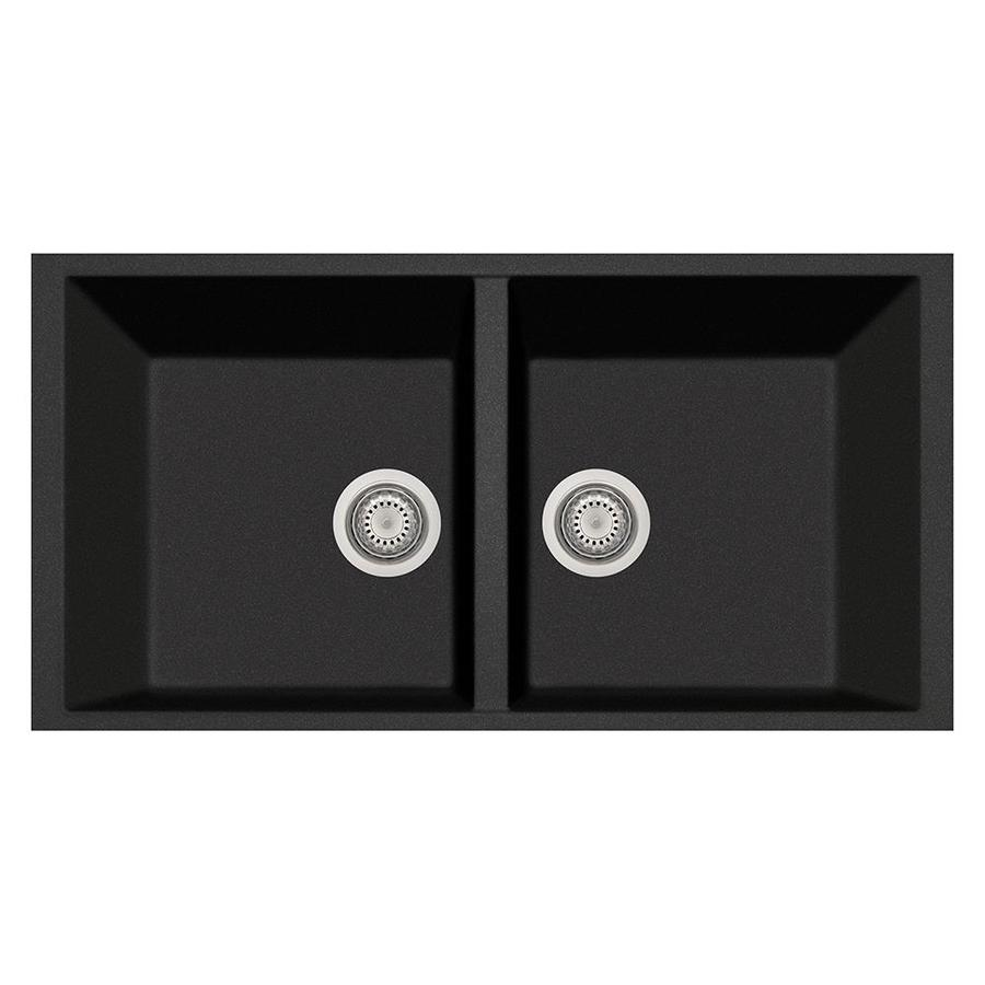 LaToscana Elegance 18-in x 34-in Black Metallic Double-Basin Composite Undermount Corner Install Commercial/Residential Kitchen Sink All-in-One Kit
