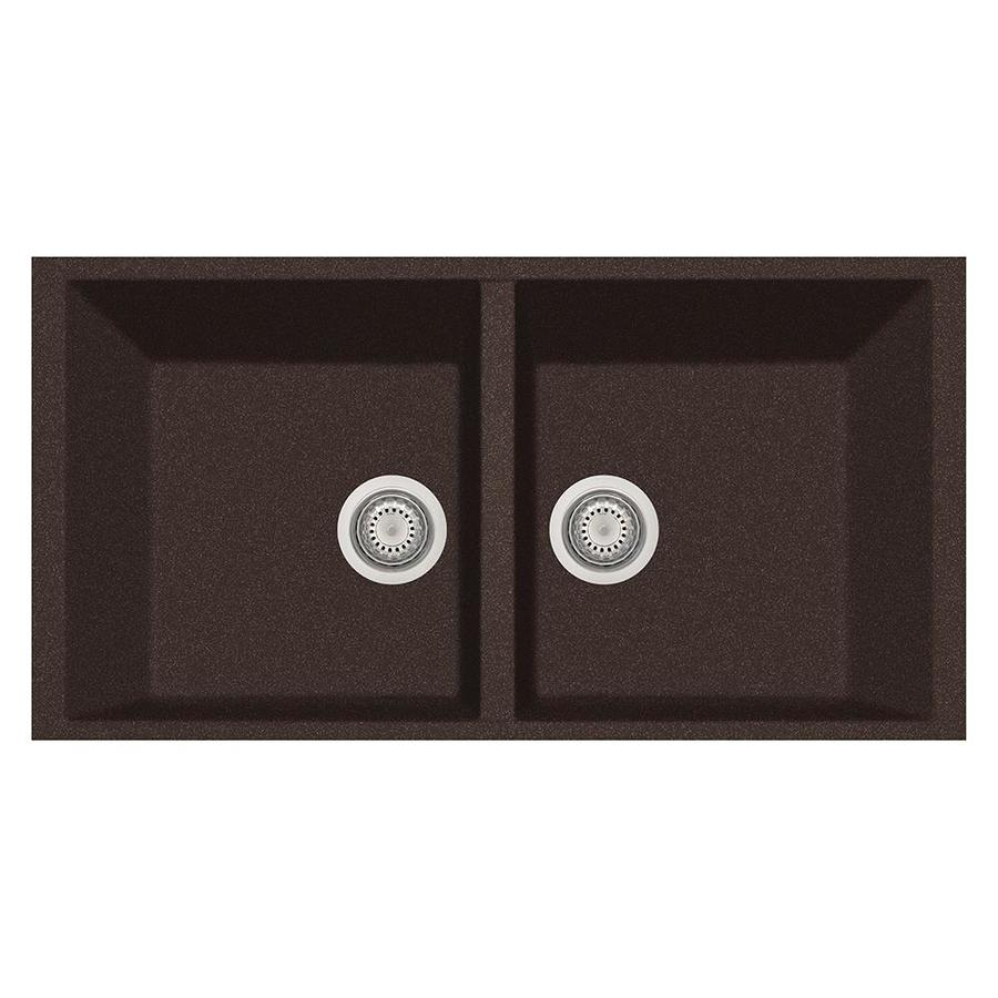 LaToscana Elegance 18-in x 34-in Brown Double-Basin Composite Undermount Corner Install Commercial/Residential Kitchen Sink All-in-One Kit