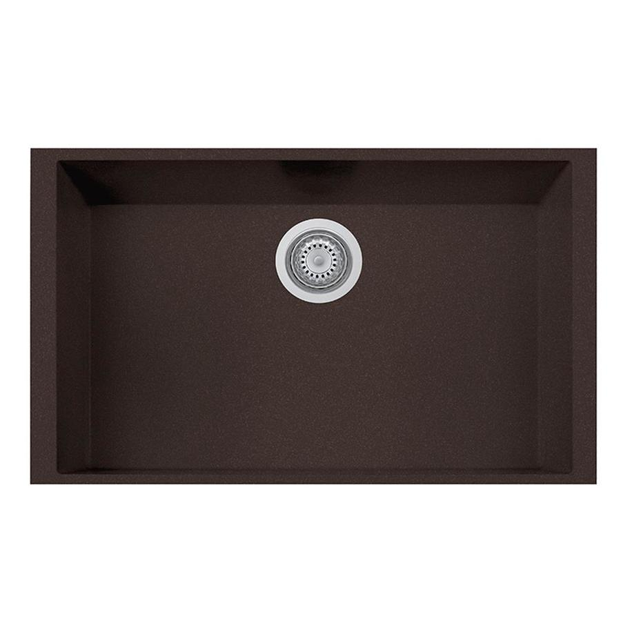 LaToscana One 18-in x 30-in Brown Single-Basin Composite Undermount Corner Install Commercial/Residential Kitchen Sink All-in-One Kit