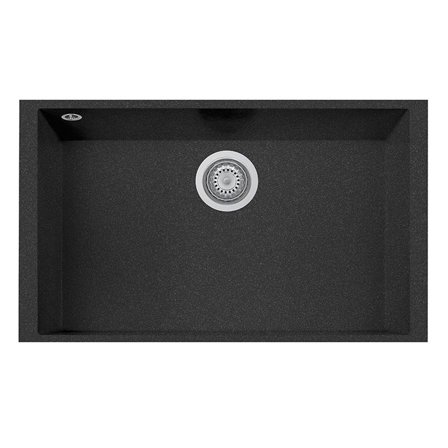 LaToscana One 18-in x 30-in Black Metallic Single-Basin Composite Undermount Corner Install Commercial/Residential Kitchen Sink All-in-One Kit