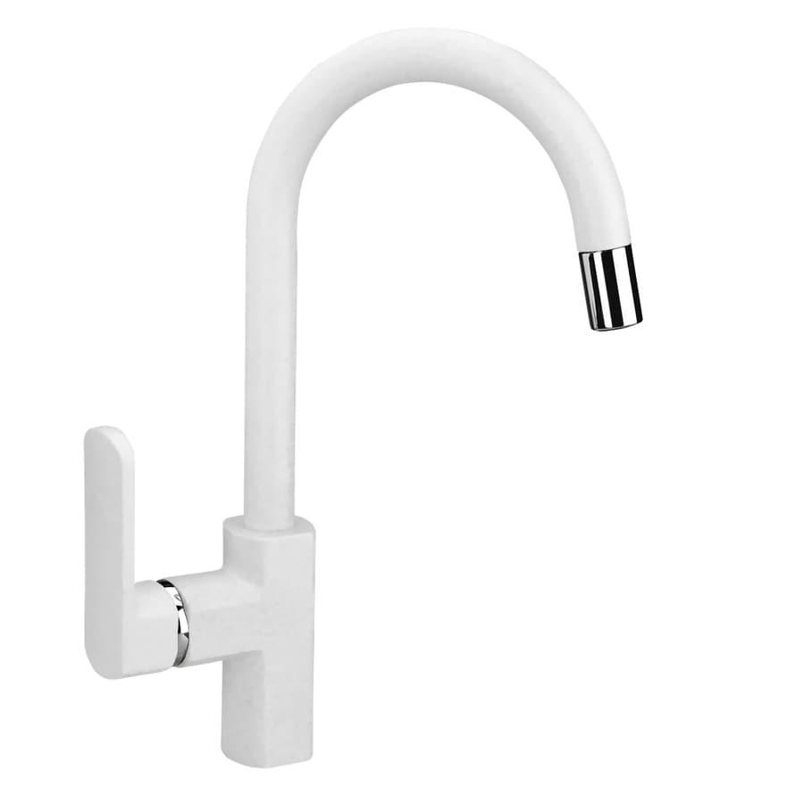 LaToscana Pamix50e Granite Milk White 1-Handle Deck Mount Pull-Down Commercial Kitchen Faucet